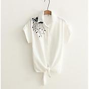 レディース カジュアル/普段着 シャツ,シンプル スクエアネック ソリッド 刺繍 コットン 半袖