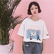 レディース カジュアル/普段着 Tシャツ,シンプル ラウンドネック ストライプ レタード コットン 半袖