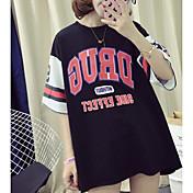 Mujer Activo Casual/Diario Camiseta,Escote Redondo Estampado Media Manga Poliéster