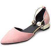 Damer Hæle Gang T-rem Komfort Kashmir Sommer Afslappet Perle Lav hæl Sort Grøn Lys pink Mandel 5-7 cm