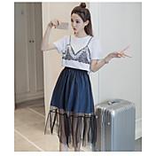 Mujer Verano T-Shirt Falda Trajes,Escote Redondo Estampado Manga Corta Malla Inelástica