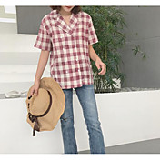 レディース お出かけ シャツ,シンプル シャツカラー ソリッド チェック コットン リネン 半袖