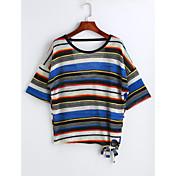 レディース カジュアル/普段着 Tシャツ,シンプル ラウンドネック ソリッド ストライプ チェック コットン 半袖
