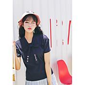 レディース カジュアル/普段着 Tシャツ,キュート Vネック ソリッド コットン 半袖