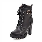 Mujer Zapatos Semicuero Primavera / Invierno Confort / Innovador / Botas de Combate Botas Tacón Cuadrado Dedo redondo Botines / Hasta el