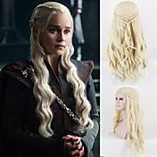 dany dragon madre suelta onda de luz rubia trenzado cosplay pelucas sintéticas