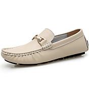 Hombre Zapatos Cuero de Napa Primavera Otoño Mocasín Zapatos de taco bajo y Slip-On para Casual Oficina y carrera Fiesta y Noche Negro