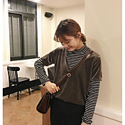 Mujer Simple Casual/Diario Camiseta,Escote en Pico Un Color Manga Corta Nailon