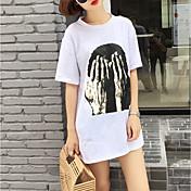 レディース カジュアル/普段着 Tシャツ,ストリートファッション ラウンドネック プリント コットン 半袖