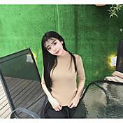 Mujer Regular Pullover Casual/Diario Un Color Cuello Barco Manga 3/4 Poliéster Primavera Fino Microelástico
