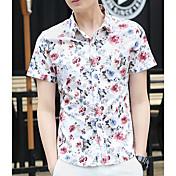 メンズ カジュアル/普段着 夏 シャツ,シンプル スクエアネック プリント コットン その他 半袖