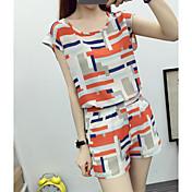 Mujer Simple Casual/Diario Verano Camiseta Pantalón Trajes,Escote Redondo Diseño Geométrico Mangas cortas Algodón