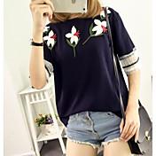 Mujer Camiseta Un Color Floral Algodón