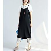 Mujer Corte Ancho Vestido Casual/Diario Un Color Escote Redondo Midi Manga Corta Algodón Verano Tiro Medio Rígido Fino