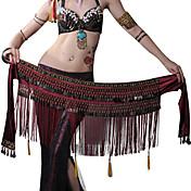 Danza del Vientre Pañuelos de Cadera para Danza del Vientre Mujer Actuación Poliéster Metal Cuentas 1 PiezaBufanda Hip y cinta de Danza