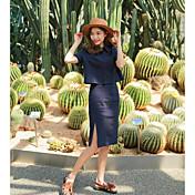 レディース カジュアル/普段着 夏 Tシャツ(21) スカート スーツ,シンプル シャツカラー ソリッド 半袖