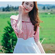 Mujer Simple Casual/Diario Camisa,Escote en Pico Estampado Manga Corta Algodón Otro