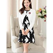Mujer Simple Casual/Diario Primavera Otoño Camisas Falda Trajes,Cuello Barco Estampado Animal Negro y Blanco Manga Larga