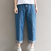 レディース ストリートファッション ハイライズ ワイドレッグ 非弾性 ジーンズ パンツ ソリッド