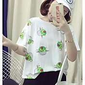 レディース カジュアル/普段着 Tシャツ,シンプル ラウンドネック ソリッド プリント コットン 半袖