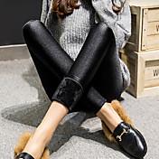 女性用 モダンスタイル 純色 ポリウレタン ミディアム ソリッドカラー レギンス,ブラック