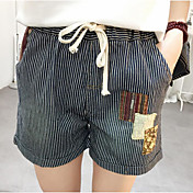 Mujer Casual Tiro Medio Microelástico Corte Recto Chinos Shorts Pantalones,A Rayas Verano