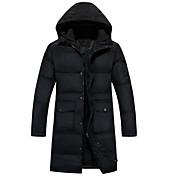 コート ロング ダウン メンズ,プラスサイズ ソリッド ポリエステル ホワイトダックダウン-シンプル 長袖
