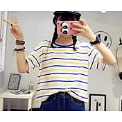 レディース カジュアル/普段着 夏 Tシャツ,キュート ラウンドネック ストライプ コットン 半袖