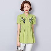 レディース カジュアル/普段着 シャツ,シンプル アジアン・エスニック Vネック 刺繍 コットン 半袖