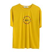 レディース カジュアル/普段着 Tシャツ,シンプル ラウンドネック 刺繍 コットン 半袖