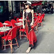 Mujer Vaina Vestido Casual/Diario Estampado Con Tirantes Maxi Sin Mangas Algodón Verano Tiro Medio Microelástico Fino