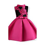 Vestido Chica de Floral Retazos Algodón Poliéster Mangas cortas Verano Floral Fucsia Rojo Azul