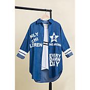 レディース お出かけ 春 シャツ,ストリートファッション シャツカラー プリント レタード その他 長袖 スモーキー