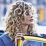 Mujer Pelucas de Cabello Natural Encaje Frontal Sin Pegamento 130% Densidad Corte Bob Rizado Rizado rizado pelucas Cabello Brasileño