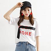 Mujer Simple Chic de Calle Casual/Diario Verano Camiseta,Escote Redondo Letra Manga Corta Algodón Medio