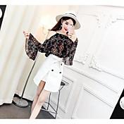 レディース カジュアル/普段着 夏 ブラウス スカート スーツ,シンプル ホルター フラワー 七分袖