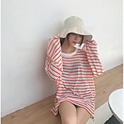 Mujer Regular Pullover Casual/Diario A Rayas Escote Redondo Manga Larga Algodón Verano Fino Rígido