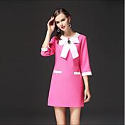 女性用 ルーズ ドレス - リボン, カラーブロック