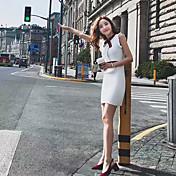 レディース キュート ストリートファッション お出かけ ワーク Aライン ドレス,パッチワーク クルーネック 膝上 ノースリーブ その他 春 ハイライズ 伸縮性あり スモーキー