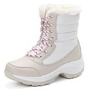 Mujer Zapatos PU Invierno Botas de nieve Botas Tacón Plano Dedo redondo Con Cordón Para Casual Negro Beige Rojo