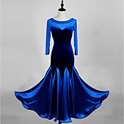ボールルームダンス ワンピース 女性用 ダンスパフォーマンス 粘着サテン ベルベット 1個 3/4スリーブ ハイウエスト ドレス