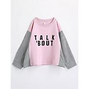 Camiseta Chica Geométrico Algodón Manga Larga Otoño Rosa