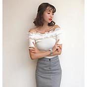 Mujer Corto Pullover Casual/Diario Un Color A Rayas Escote Barco Manga Corta Algodón Primavera Verano Medio Microelástico