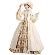 魔女 プリンセス クィーン コスプレ衣装 ハロウィーン カーニバル 新年 イベント/ホリデー ハロウィーンコスチューム ベージュ 純色 レース