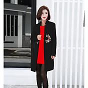 レディース お出かけ 秋 コート,シンプル スタンド ソリッド ロング コットン 長袖