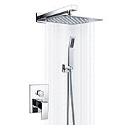 コンテンポラリー シャワーシステム レインシャワー ハンドシャワーは含まれている セラミックバルブ 一つ クロム, シャワー水栓