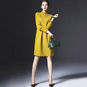 レディース ストリートファッション プラスサイズ お出かけ ニット ドレス,ソリッド タートルネック 膝上 長袖 ポリエステル 秋 冬 ミッドライズ 伸縮性あり ミディアム