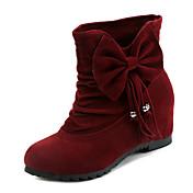 Mujer Zapatos Tejido Otoño Invierno Confort Botas Tacón Plano Botines/Hasta el Tobillo Pajarita Para Casual Negro Amarillo Wine