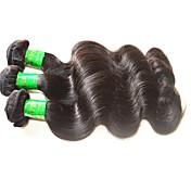 未処理 インディアンヘア 人間の髪編む ウェーブ ヘアエクステンション 3個 ブラック