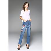 重い刺繍の花大きなヨーロッパとアメリカのジーンズマイクロハーレムパンツ春2017女性'新しい貿易